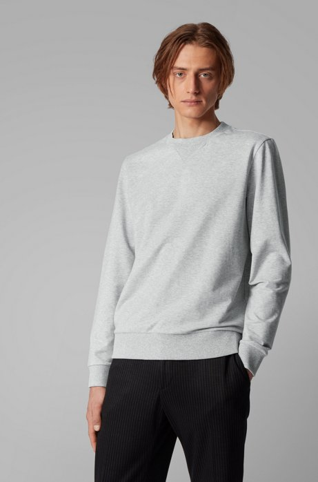 Crew-neck sweater in French terry, Light Grey