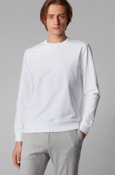 Crew-neck sweater in French terry, White