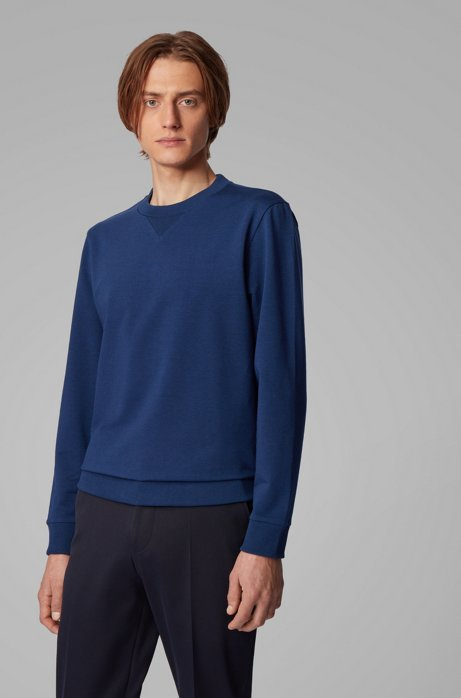 Crew-neck sweater in French terry, Dark Blue