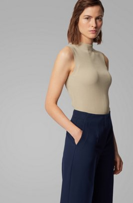 Slim-fit ribbed top in stretch yarn, Beige