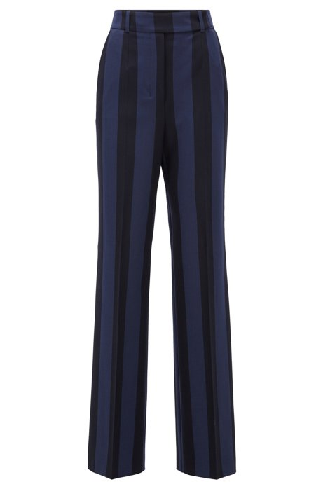 Regular-fit pants in block-stripe stretch fabric, Patterned