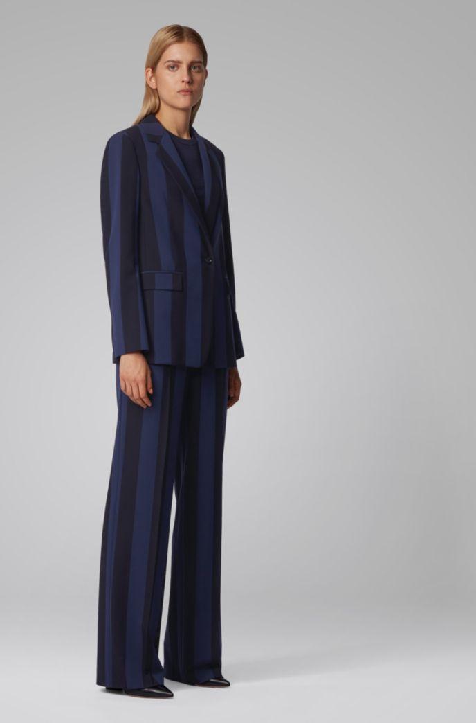 Regular-fit pants in block-stripe stretch fabric