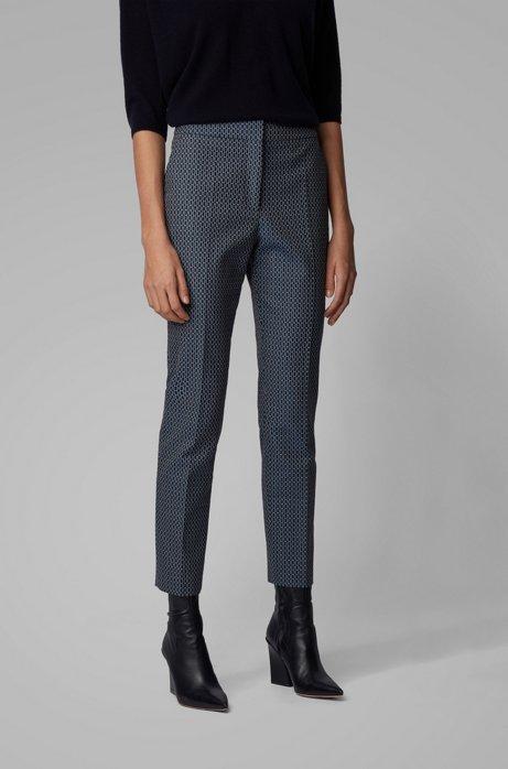 Regular-fit pants with jacquard-woven monogram motif, Patterned