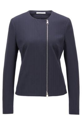 Regular-fit jacket in herringbone stretch jersey, Open Blue