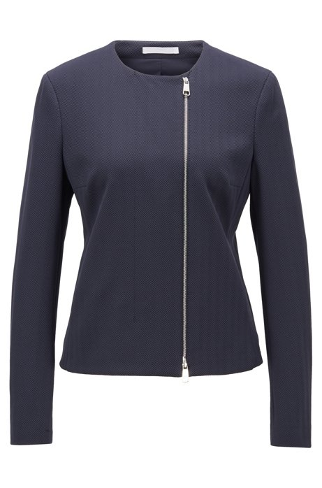Regular-fit jacket in herringbone stretch jersey, Open Blue
