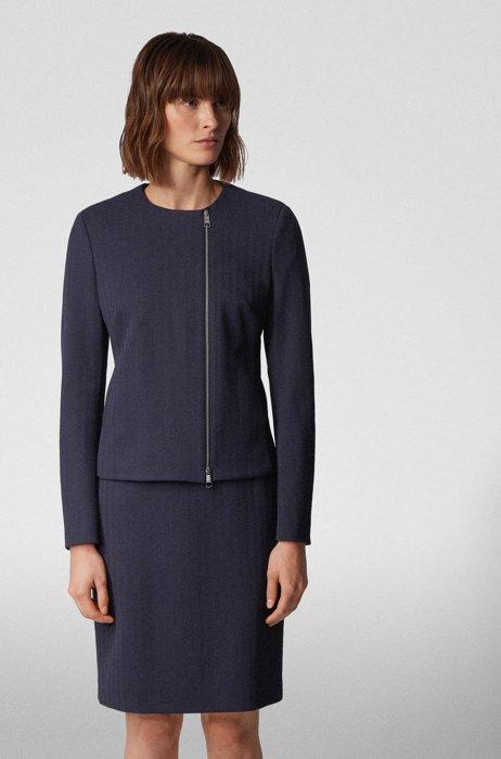 Regular-fit jacket in herringbone stretch jersey, Light Blue