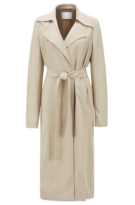 Wrap-front coat with tie belt, Beige
