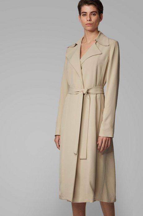 Wrap-front coat with tie belt, Beige