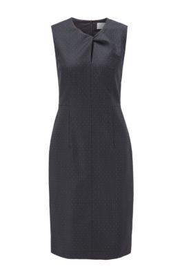 Pinstripe shift dress with twisted keyhole slit, Patterned