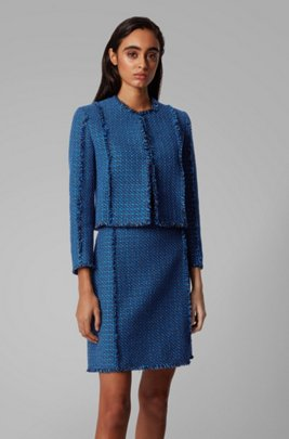 Regular-fit jacket in two-tone tweed, Patterned