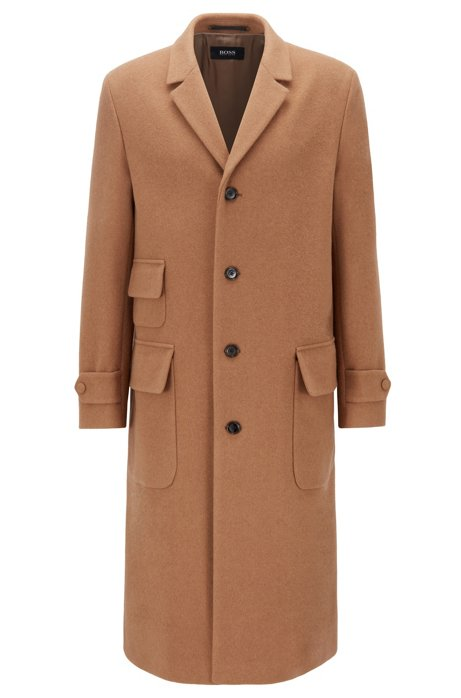 Overcoat in camel hair and virgin wool, Beige