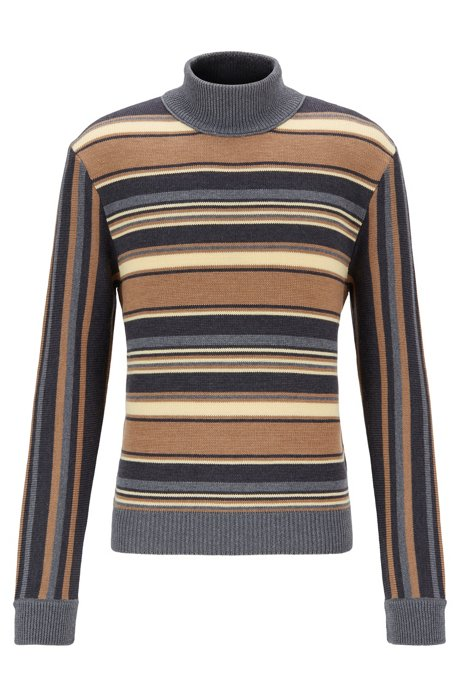 Multi-stripe mock-neck sweater in wool, Grey