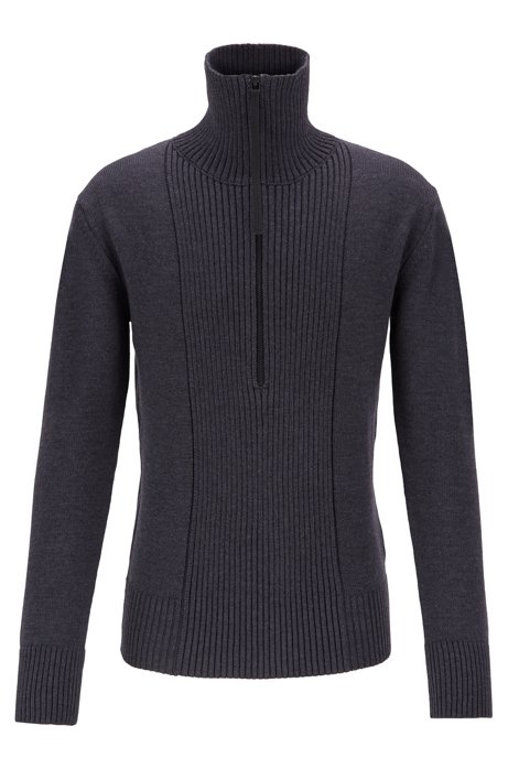 Zip-neck sweater in merino wool with structured front, Open Grey