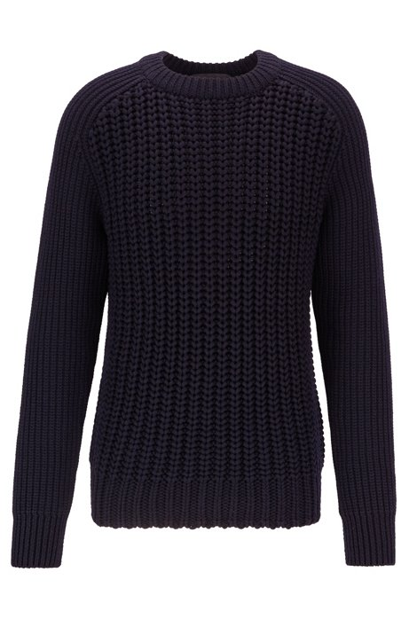 Cardigan-stitch sweater in merino wool, Dark Blue