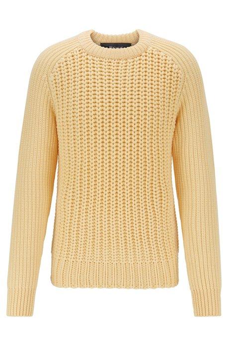 Cardigan-stitch sweater in merino wool, Light Yellow