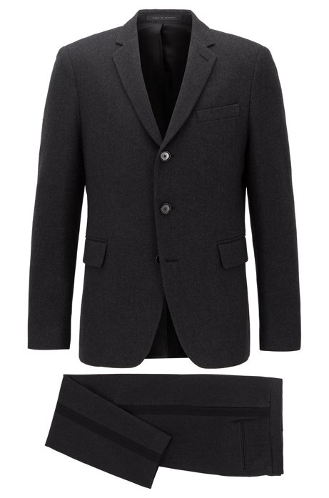 Single-breasted slim-fit suit in Italian fabric, Dark Grey