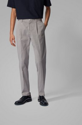 Tapered-leg pants in stretch-cotton gabardine, Silver