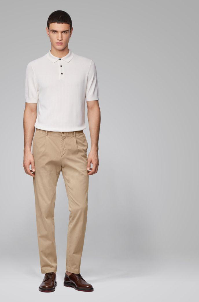 Tapered-leg pants in stretch-cotton gabardine