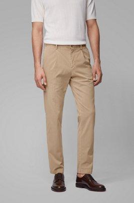 Tapered-leg pants in stretch-cotton gabardine, Light Brown