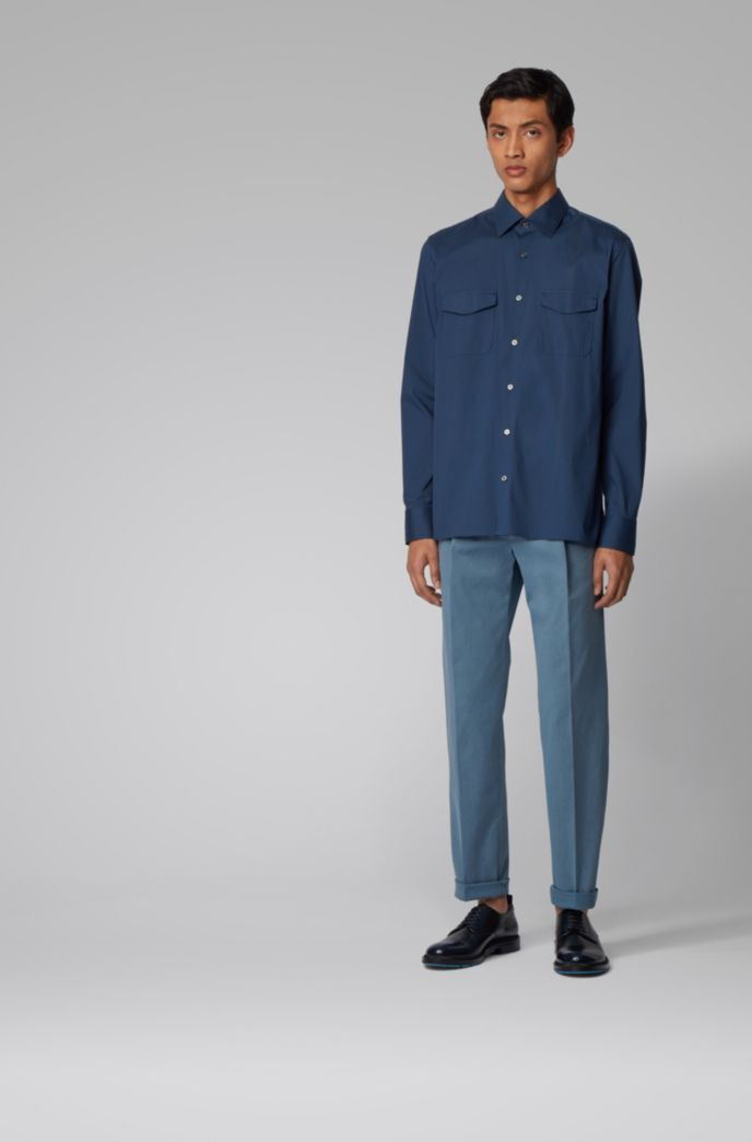 Tapered-leg pants in stretch-cotton gabardine