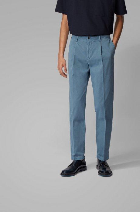 Tapered-leg pants in stretch-cotton gabardine, Dark Blue