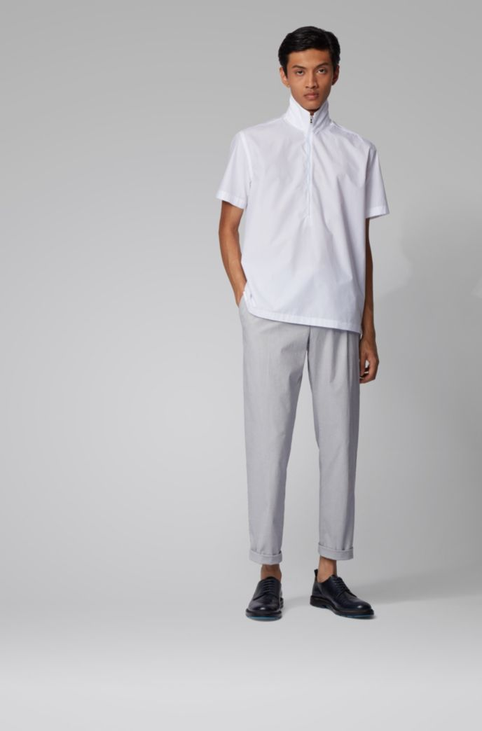 Slim-fit pants in structured stretch cotton
