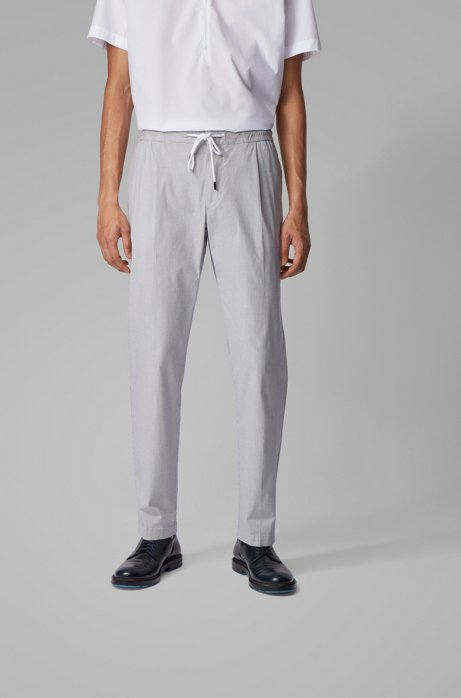 Slim-fit pants in structured stretch cotton, White