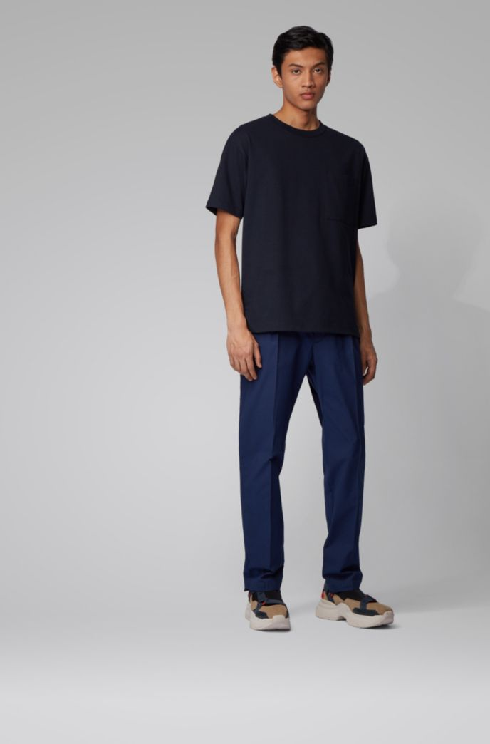 Slim-fit pants in finely striped stretch cotton