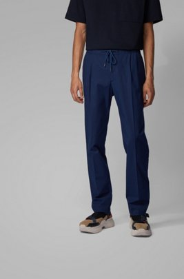 Slim-fit pants in finely striped stretch cotton, Dark Blue