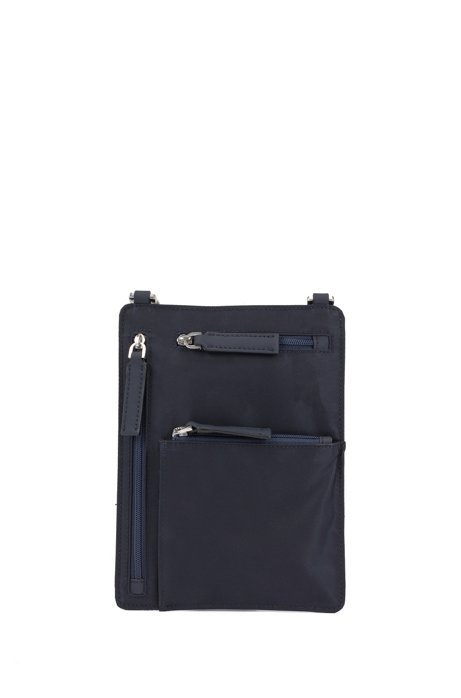 Italian-nylon envelope bag with braided strap, Dark Blue