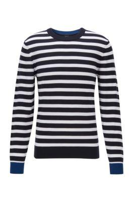 Striped sweater in soft cotton, Dark Blue