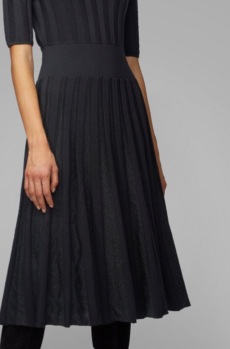 Short-sleeved dress with sparkly pleated skirt, Patterned