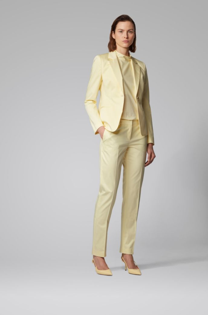 Regular-fit jacket in stretch-cotton satin