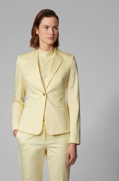 Regular-fit jacket in stretch-cotton satin, Light Yellow