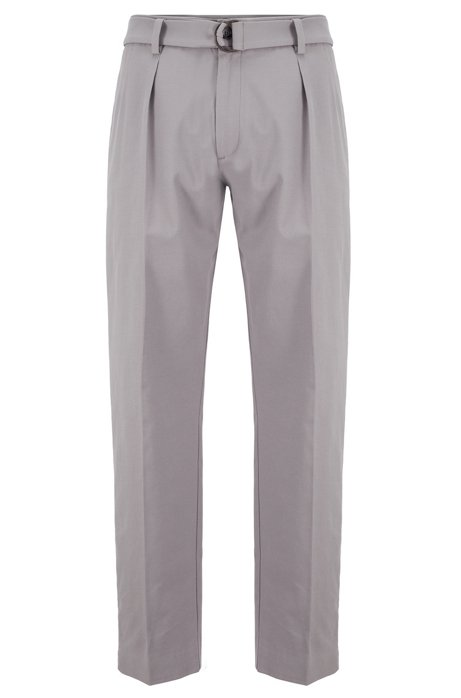 Relaxed-fit pants in Italian stretch-cotton twill, Silver
