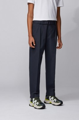 Relaxed-fit pants in Italian stretch-cotton twill, Dark Blue