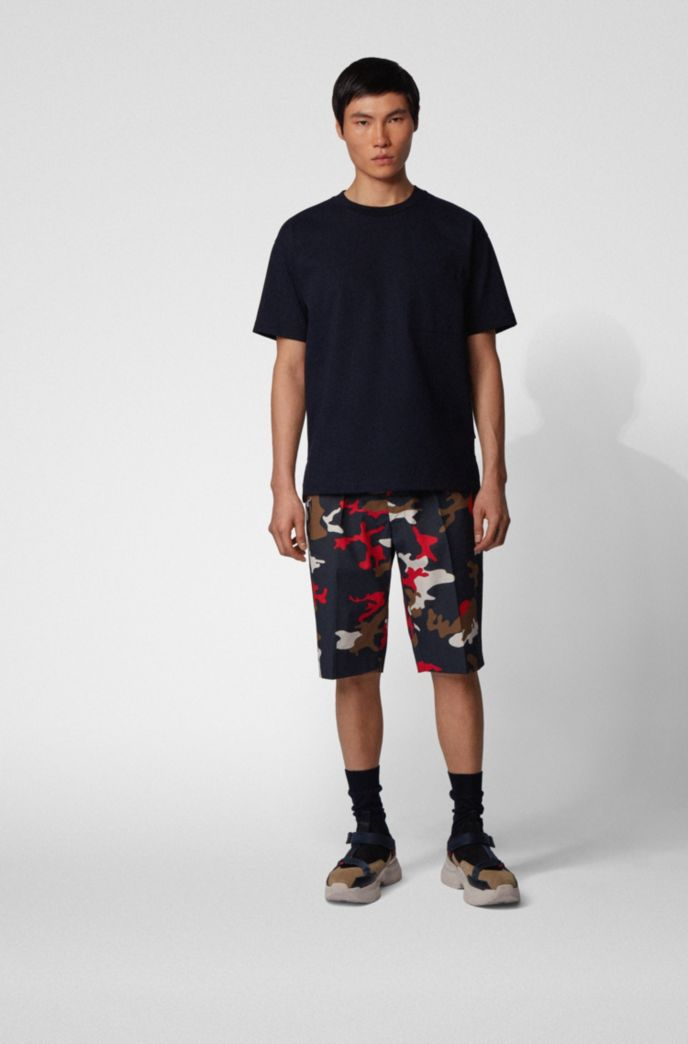 Relaxed-fit shorts in camouflage-print stretch cotton