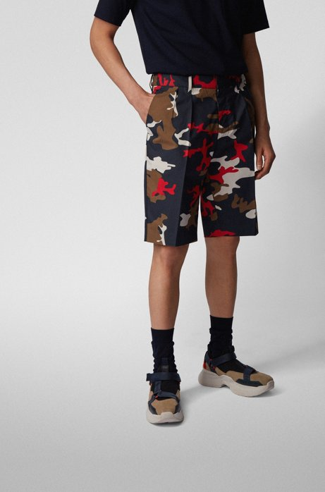 Relaxed-fit shorts in camouflage-print stretch cotton, Dark Blue