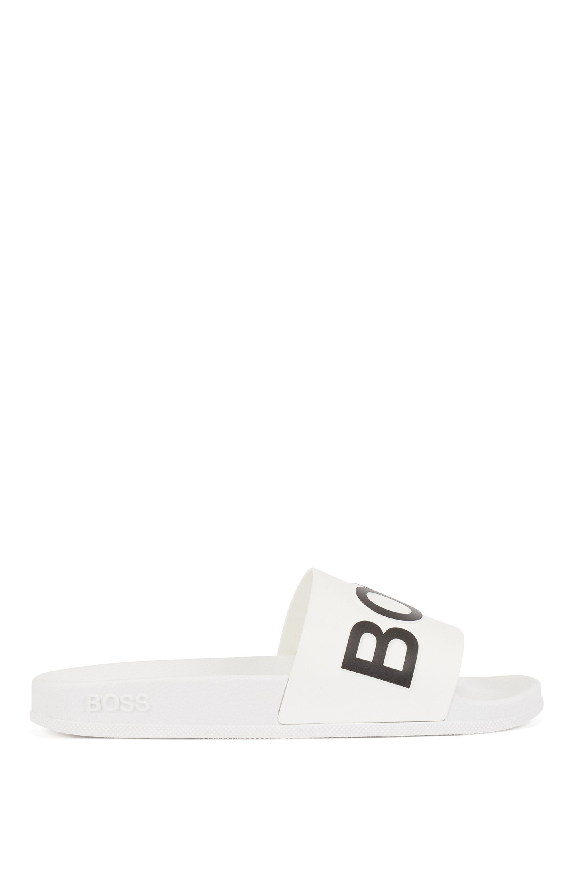 Logo-strap slides with molded footbed, White