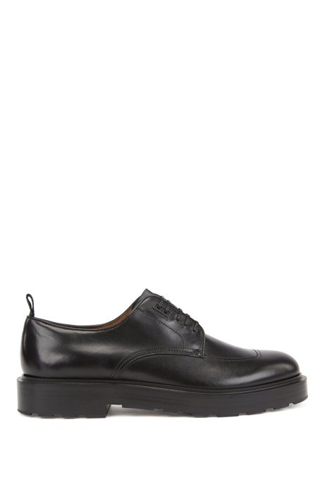 Derby shoes in calf leather with rubber-detail heel, Black
