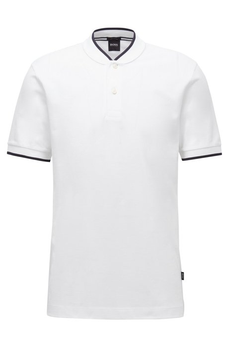 Cotton-piqué polo shirt with baseball collar, White
