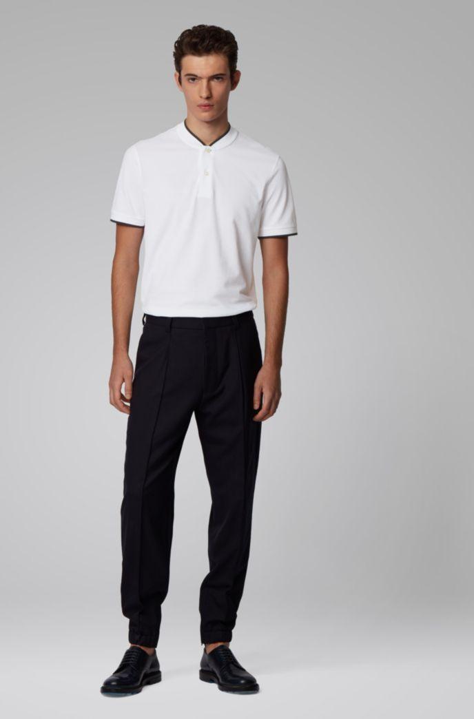 Cotton-piqué polo shirt with baseball collar