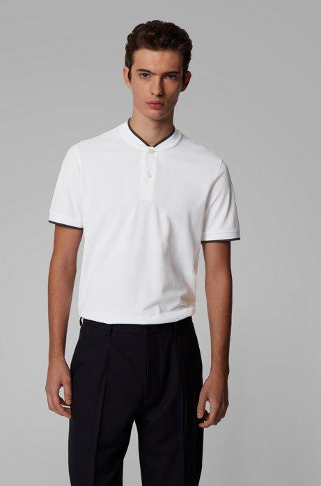 Cotton-piqué polo shirt with baseball collar, White