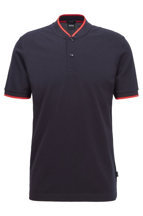 Cotton-piqué polo shirt with baseball collar, Dark Blue