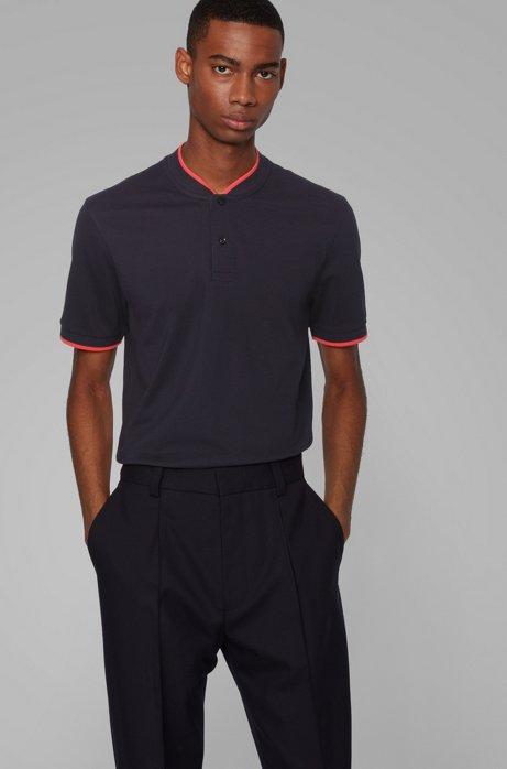 Cotton-piqué polo shirt with baseball collar, Dark Blue