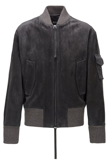 Bomber jacket in brushed suede, Open Grey