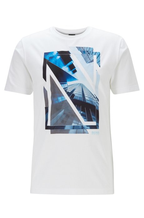 Crew-neck jersey T-shirt with mesh-overlay graphic, White