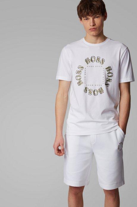 Stretch-cotton T-shirt with layered metallic logo, Natural