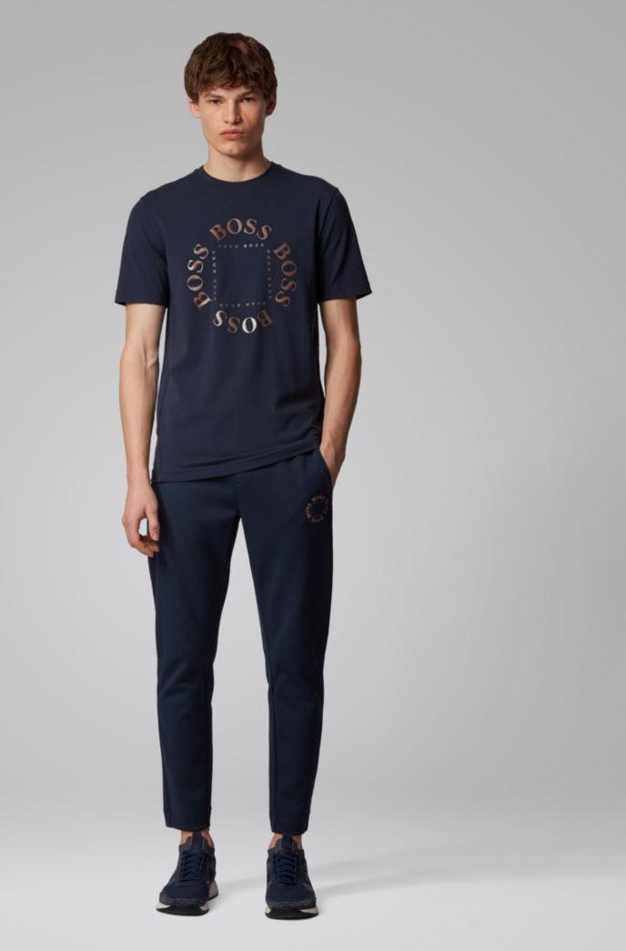 Stretch-cotton T-shirt with layered metallic logo