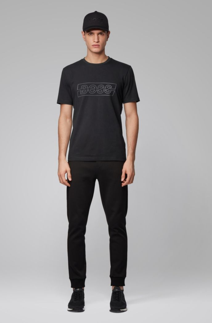 Stretch-cotton T-shirt with reflective logo